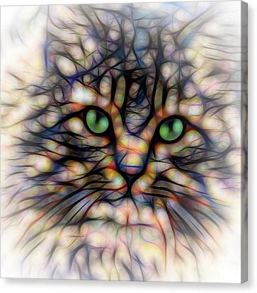Canvas Print featuring the digital art Green Eye Kitty Square by Terry DeLuco