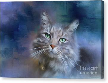 Green Eyes - Cat Art By Michelle Wrighton Canvas Print by Michelle Wrighton