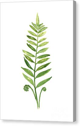 Green Fern Watercolor Art Print Painting Canvas Print by Joanna Szmerdt