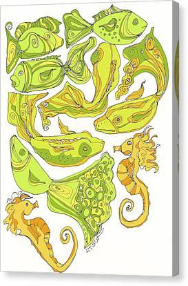 Green Fish Canvas Print by Linda Kay Thomas