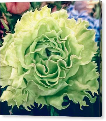 Canvas Print featuring the photograph Green Flower by Linda Constant