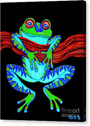 Green Frog Hanging On Canvas Print by Nick Gustafson