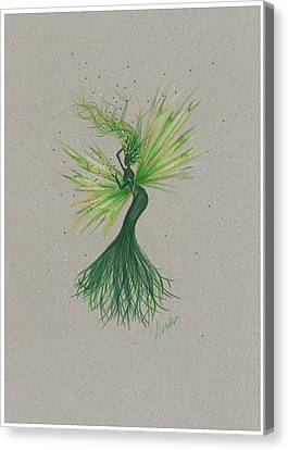 Canvas Print featuring the drawing Green Garden Fae by Dawn Fairies