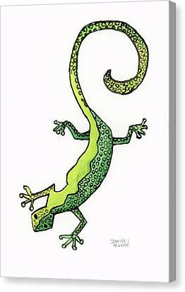 Canvas Print featuring the painting Green Gecko  by Darice Machel McGuire