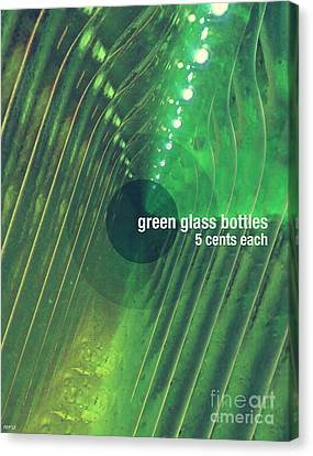 Canvas Print featuring the photograph Green Glass Bottles by Phil Perkins