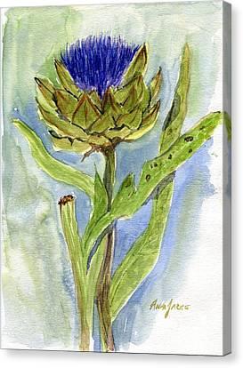 Green Globe Artichoke Bloom Canvas Print