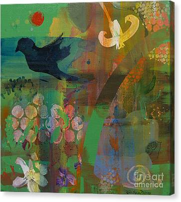 Canvas Print featuring the painting Green Glory  by Robin Maria Pedrero