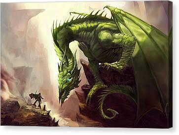 Green God Dragon Canvas Print by Anthony Christou