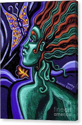 Green Goddess With Butterfly Canvas Print by Genevieve Esson
