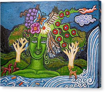 Green Goddesswith Waterfall2 Canvas Print by Genevieve Esson