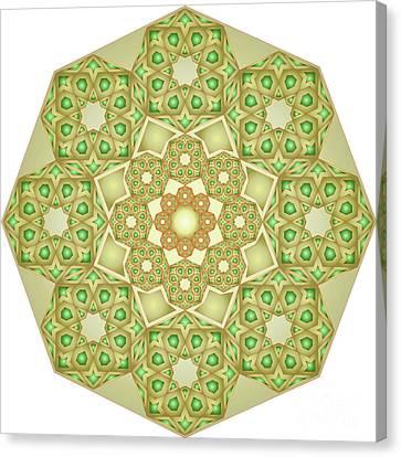 Green Gold Rosette 192  Canvas Print