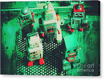 Green Grunge Comic Robots Canvas Print by Jorgo Photography - Wall Art Gallery