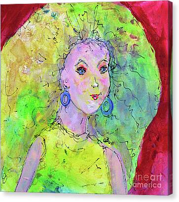 Canvas Print featuring the painting Green Hair Don't Care by Claire Bull