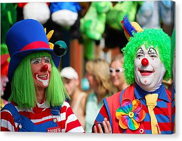 Green Haired Juggling Clowns Canvas Print by Bob Cuthbert