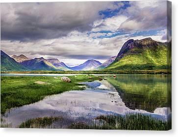 Mountain Reflection Lake Summit Mirror Canvas Print - Green Hills Of Vesteralen by Dmytro Korol