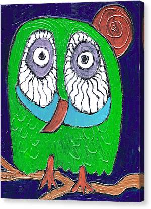 Green Hooter Canvas Print by Wayne Potrafka