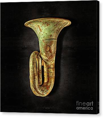 Green Horn Up On Black Canvas Print by YoPedro