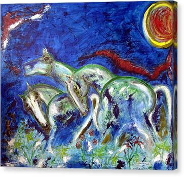 Green Horses Canvas Print by Narayanan Ramachandran