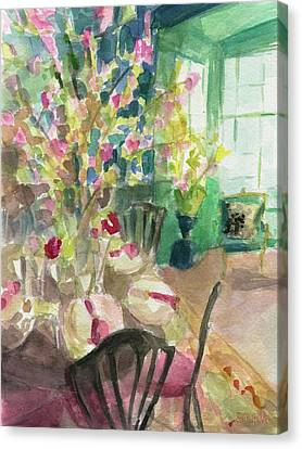 Green Interior With Cherry Blossoms Canvas Print