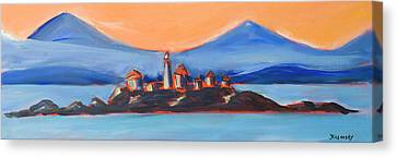 Canvas Print featuring the painting Green Island Lighthouse by Yulia Kazansky