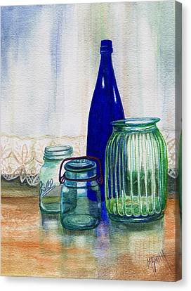 Green Jars Still Life Canvas Print by Marilyn Smith