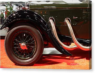 Green Lagonda Classic Car Front Side View Canvas Print by Wingsdomain Art and Photography