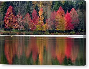 Green Lake Autumn Reflection Canvas Print