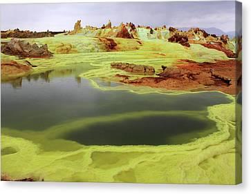 Earth Tones Canvas Print - Green Lakes At Dallol Crater by Aidan Moran