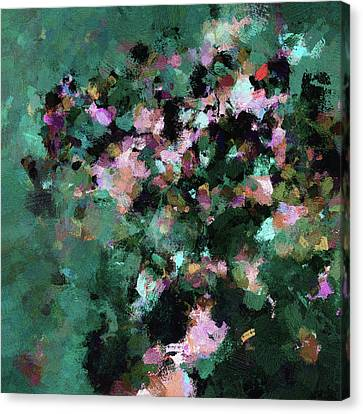 Canvas Print featuring the painting Green Landscape Painting In Minimalist And Abstract Style by Ayse Deniz