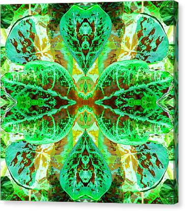 Green Leafmania 3 Canvas Print by Marianne Dow