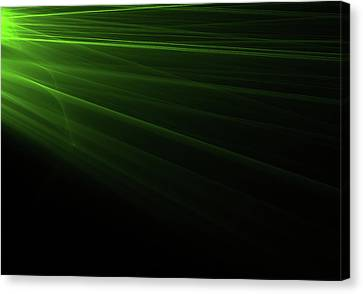 Green Light Rays Coming From The Left Canvas Print