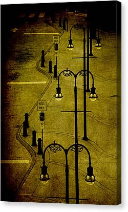 Old Bus Stations Canvas Print - Green Light by Susanne Van Hulst