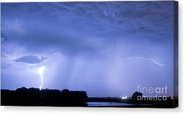 The Lightning Man Canvas Print - Green Lightning Bolt Ball And Blue Lightning Sky by James BO  Insogna
