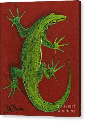 Polish Folk Art Canvas Print - Green Lizard by Anna Folkartanna Maciejewska-Dyba