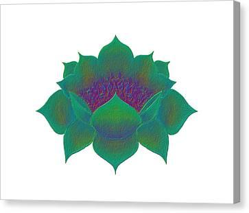 Canvas Print featuring the digital art Green Lotus by Elizabeth Lock