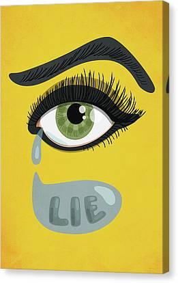 Green Lying Eye With Tears Canvas Print