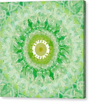 Green Mandala- Abstract Art By Linda Woods Canvas Print