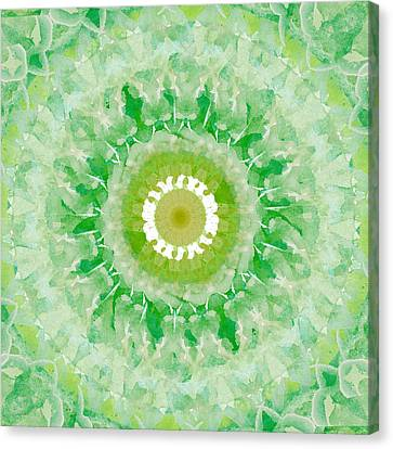Green Mandala- Abstract Art By Linda Woods Canvas Print by Linda Woods