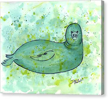 Canvas Print featuring the painting Green Monk Seal by Darice Machel McGuire