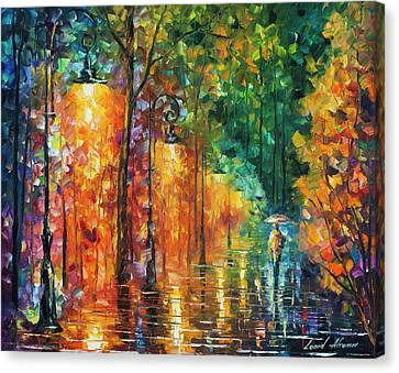Green Night  Canvas Print by Leonid Afremov
