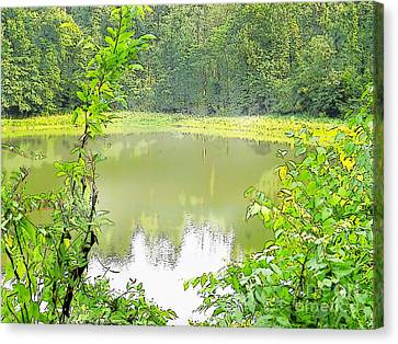 Green On Lake Canvas Print