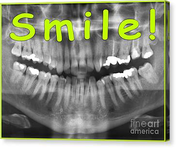 Green Panoramic Dental X-ray With A Smile  Canvas Print by Ilan Rosen