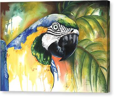 Canvas Print featuring the mixed media Green Parrot by Anthony Burks Sr