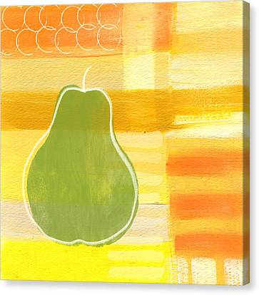 Green Pear- Art By Linda Woods Canvas Print by Linda Woods