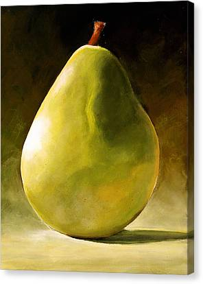 Orange Canvas Print - Green Pear by Toni Grote