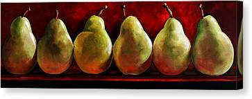 Green Pears On Red Canvas Print by Toni Grote