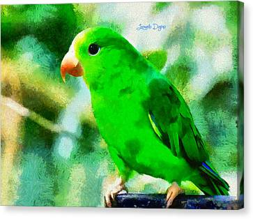 Green Periquito Canvas Print