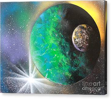 Canvas Print featuring the painting Green Planet 4672 by Greg Moores