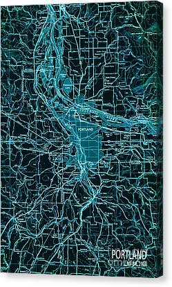 Green Portland Vintage Map Canvas Print