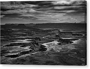 Green River In Black And White Canvas Print